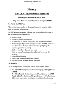 Preview of History - Causes of World War One