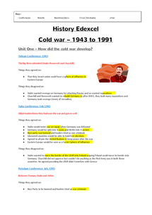 Preview of History - Cold war (entire syllabus): Edexcel