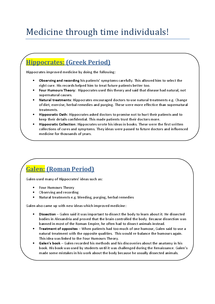 Preview of History (OCR) - Medicine Through Time Individuals (Revision Notes)