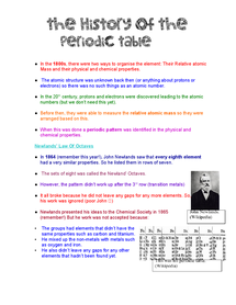 Preview of History Of The Periodic Table (Chemistry Unit 3)