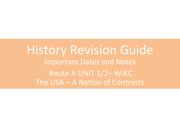 Preview of History Revision Guide - The USA 1910-1929