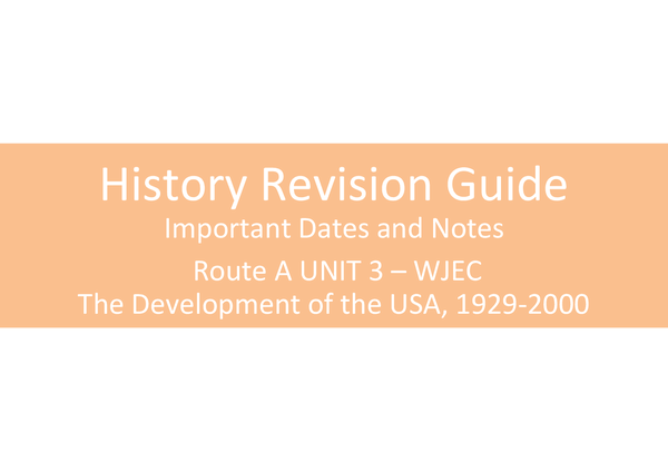 Preview of History Revision Guide - The USA 1929-2000