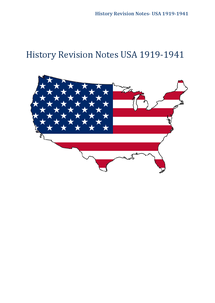 Preview of History Revison Notes- USA 1919-1941