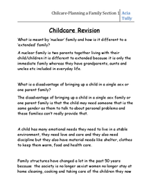 Preview of Home Economics Childcare- Planning a Family Section One