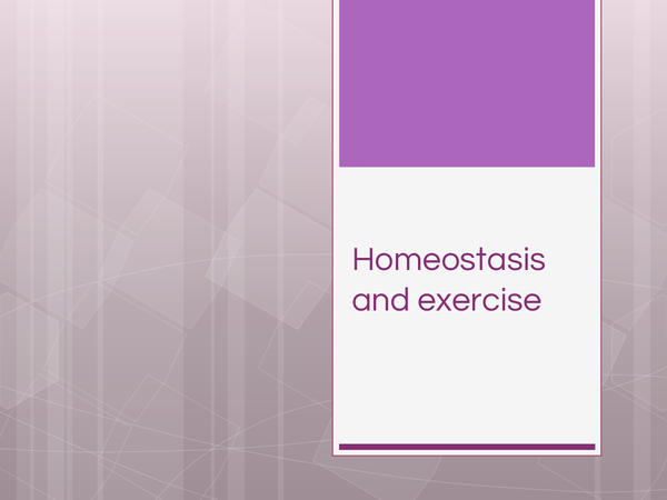 Preview of Homeostasis and exercise