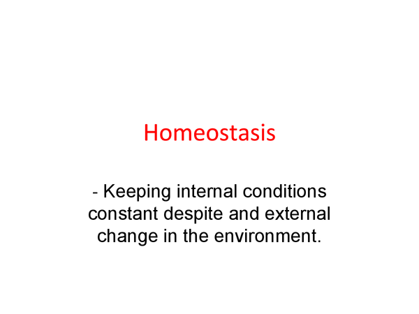 Preview of Homeostasis OCR A2 Biology. Control of...