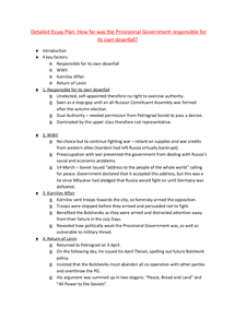 Preview of How far was the Provision Government responsible for its own downfall? - Detailed Essay Plan