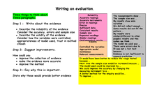 Preview of How to write an Evaluation for Coursework and Investigations