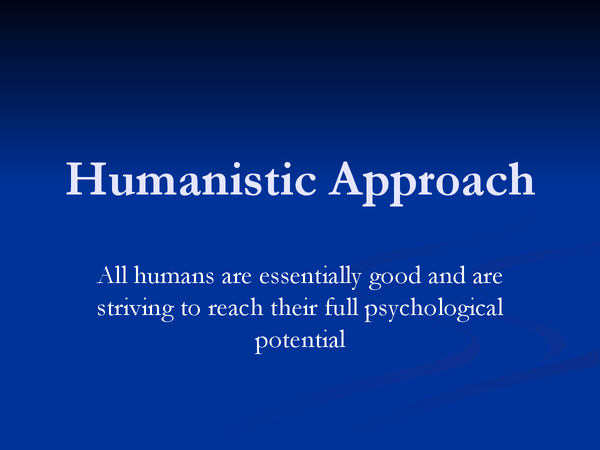 Preview of Humanistic approach