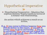 the hypothetical and categorical imperatives essay Kant's ethics so far in our law, which kant called the categorical imperative this is a hypothetical imperative because it tells us what we should do.