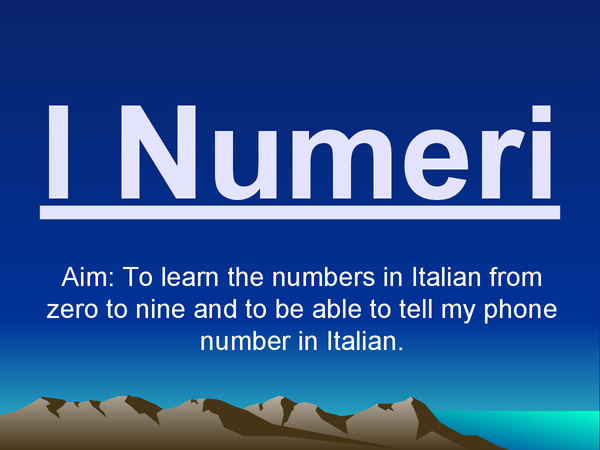 Preview of I Numeri