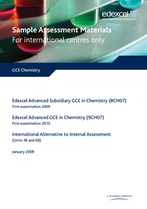 Preview of IAL & GCE Chemistry Unit 3 Paper Sample