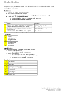 Preview of IB Maths Studies SL Review Notes