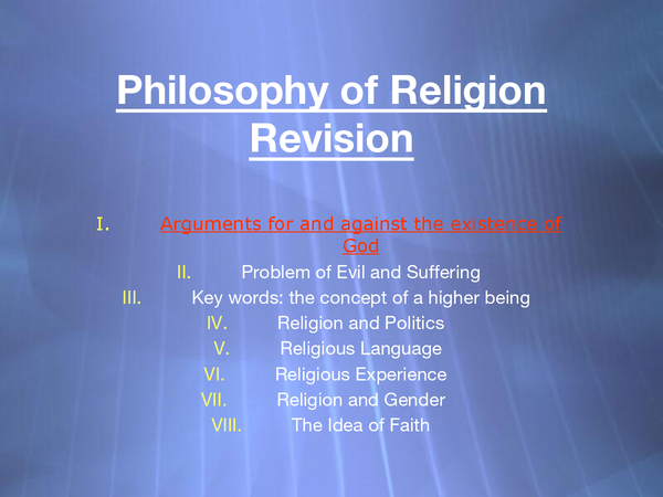 Preview of IB Philosophy of Religion - Arguments for the Existence of God