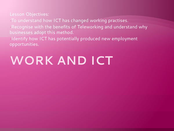 Preview of ICT and work