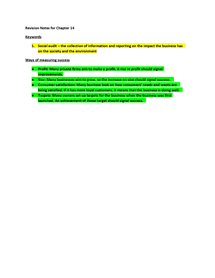 Preview of IGCSE Business Studies revision notes for chapter 14