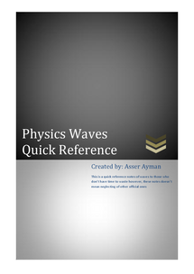 Preview of IGCSE waves quick refrence notes.