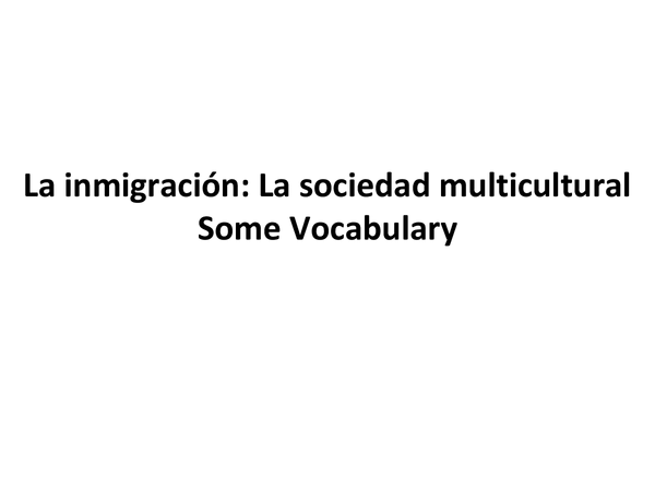 Preview of Immigration/Multicultural Society Vocab