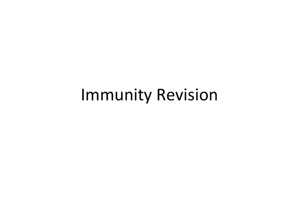 Preview of Immunity revision powerpoint