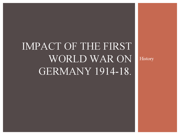 Preview of Impact of ww1 on Germany
