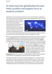 Preview of In what ways has globalisation become both a positive and negative force in modern societies?