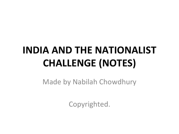 Preview of India and the Nationalist Challenge Notes