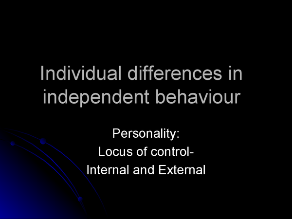 Preview of individual differences,