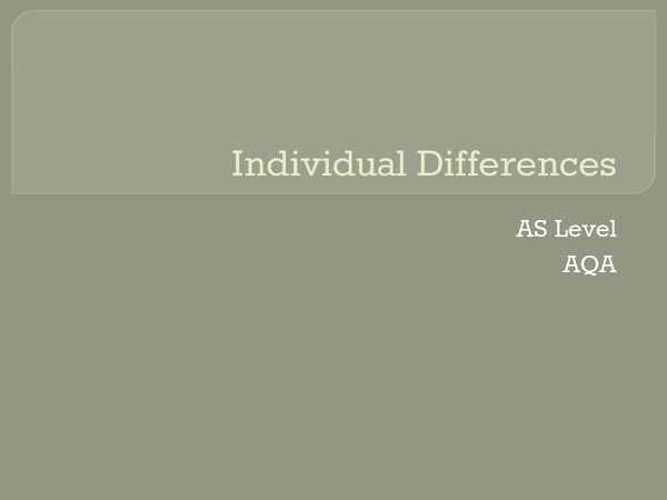 Preview of Individual differences