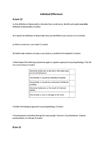 Preview of Individual Differences (abnormality) past exam questions