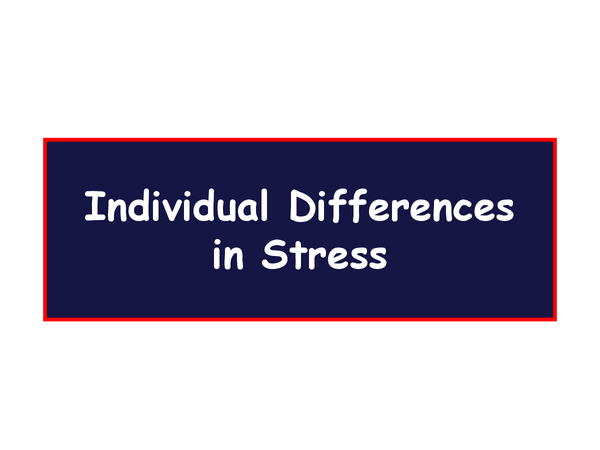 Preview of Individual differences and stress