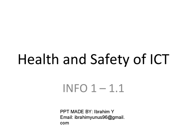 Preview of INFO 1 - Health and Safety of ICT - Topic 1.1