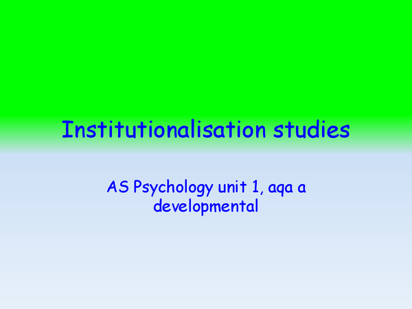 Preview of Institutionalisation studies and evaluation