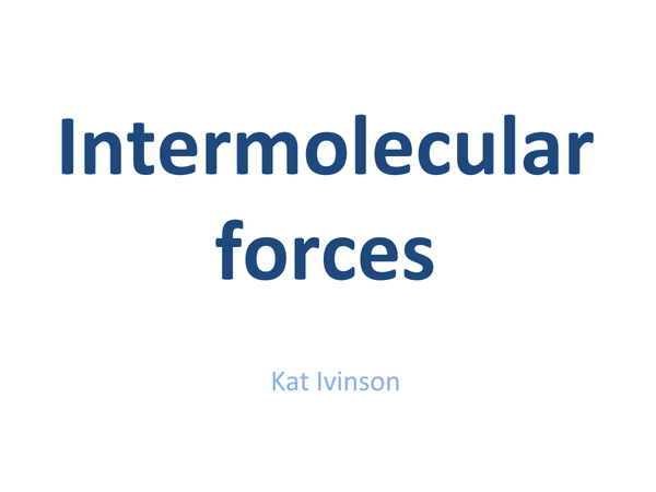 Preview of Intermolecular Forces