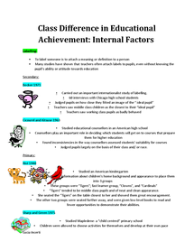 Preview of Internal Factors Class Difference Achievement