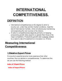 Preview of international competitiveness