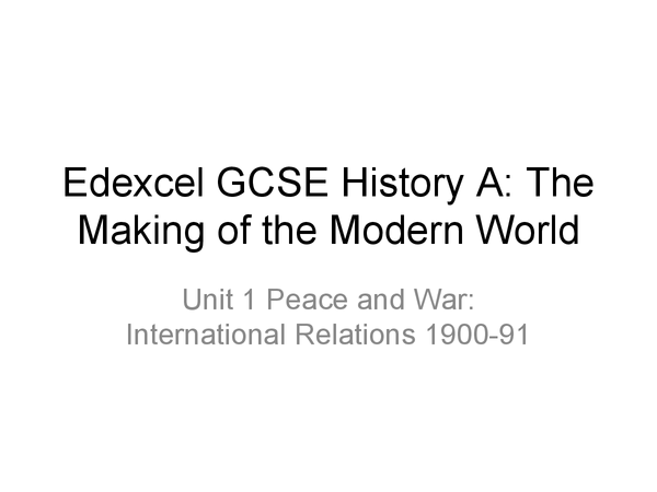 Preview of International Relations: The Cold War (Edexcel Specification)