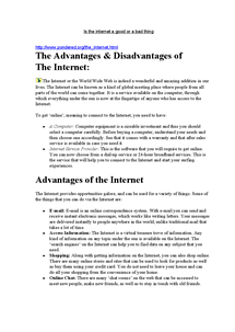 Preview of Internet Websites Notes