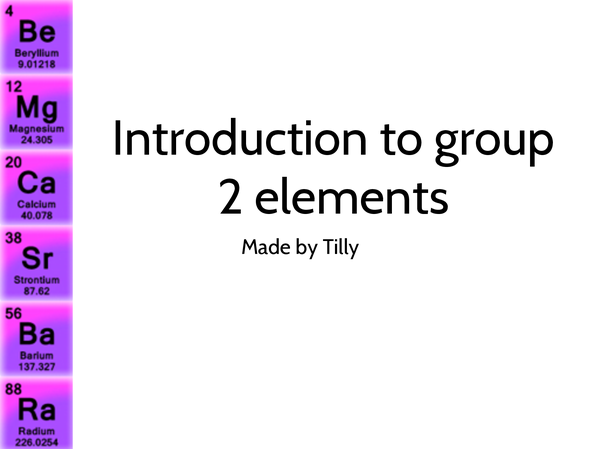 Preview of Introduction to Alkali Earth Metals