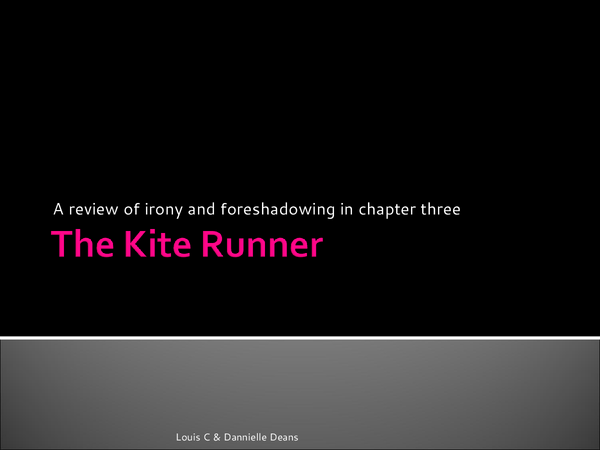 the kite runner irony The decisive moment and the turning point of the action in the plot of a play or story in kite runner, the climax was the rape in chapter 7 when assef raped hassan.
