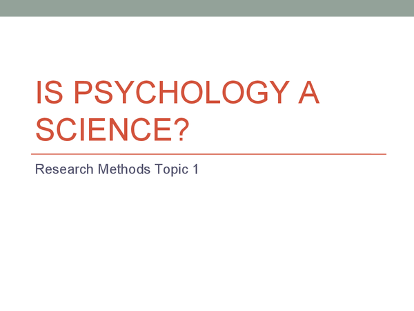 Preview of Is psychology a Science