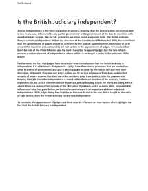 Preview of Is the British Judiciary independent? 10 mark Q
