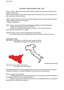 Preview of Italian Unification 1860 onwards