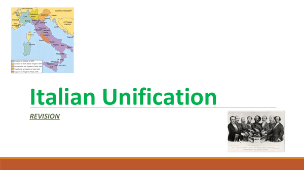 Preview of ITALIAN UNIFICATION - FULL REVISION NOTES