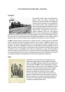 Preview of How United Was Italy after 1861? - Economics