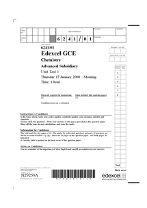 Preview of January 2008 edexcel AS chemistry unit 2 paper