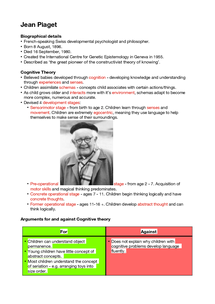 Preview of Jean Piaget Fact File and Cognitive Theory