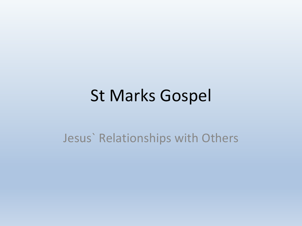 Preview of Jesus' Relationships with Others - Topic 5 // UNIT 5