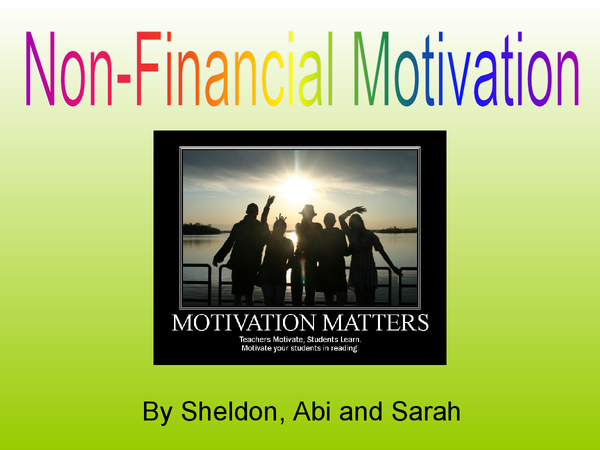 Preview of Job Ration - Non-Financial Motivation