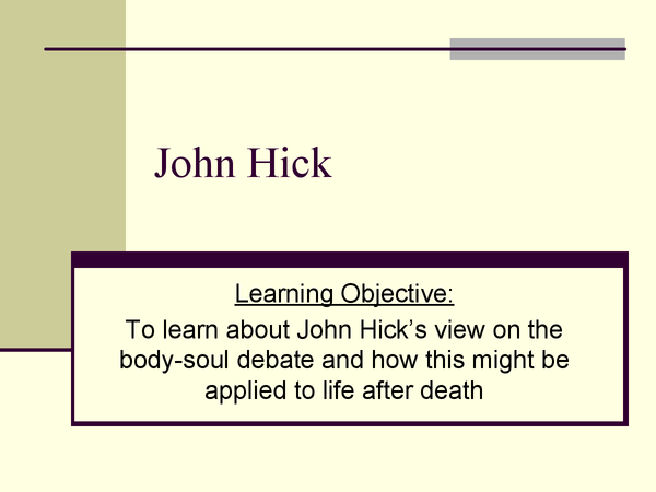 Preview of John Hick A2