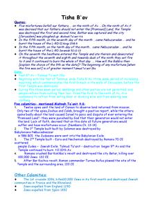 Preview of Judaism Tisha Ba'Av religous studies OCR as level Notes